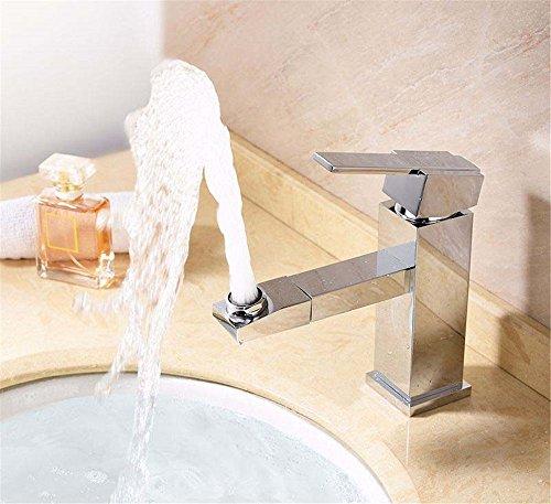 YSRBath Moderne Waschbecken Waschtischarmatur Antike Kupfer Square Duschabtrennung 360 Grad Heiß und Kalt Mischbatterie Bad Küche Wasserhahn Badarmatur