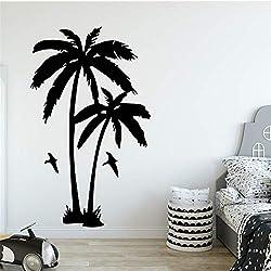 Venta caliente planta de árbol de coco etiqueta de la pared para la sala de estar extraíble de vinilo palmeras tatuajes de pared para el cuarto de niños decoración púrpura M 30 cm X 49 cm