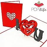 PopLife Cards Te amo tarjeta emergente del corazón para todas las ocasiones, tarjeta de felicitación del día de la madre, feliz cumpleaños, aniversario, compromiso, san valentín, un regalo especial