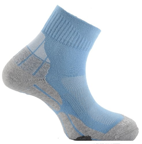 Horizon Women's Quartal Socken Coolmax Xl Mehrfarbig - Sky/Grey/Cream (Womens Quartal Socken)