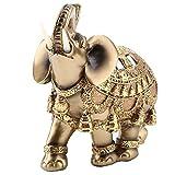 Golden Polyresin Estatua de elefante Escultura Tronco Riqueza Afortunada Coleccionable...