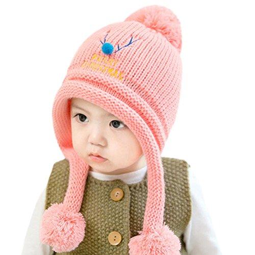 LuckyGirls Babymütze Jungen Mädchen Kappe Weihnachten Brief Baumwolle Ball Hut Warme Kinder Hüte (pink)