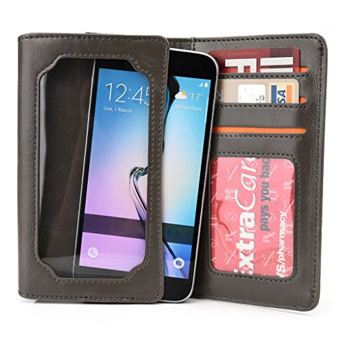 Kroo Portefeuille unisexe avec Samsung Galaxy Core 2/Core LTE ajustement universel différentes couleurs disponibles avec affichage écran Marron - marron Gris - gris