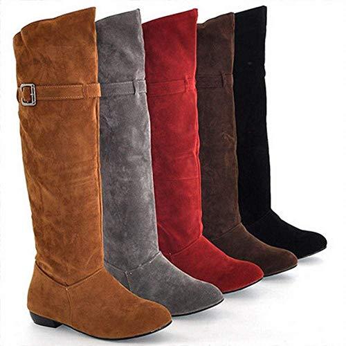 Fuxitoggo Damenschuhe - Herbst und Winter warme runde Kopf Matte hohe Stiefel/über dem Knie Schleifen Garn erhöht weibliche Stiefel (Farbe : Grau, Größe : 43)