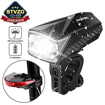 OUTERDO LED Fahrradlicht Set, StVZO Zugelassen LED Fahrradlicht Set, LED Fahrradbeleuchtung Set mit 5 Batterien inkl.Frontlicht und Rücklicht, Wasserdichte Fahrradlampe Set Schwarz