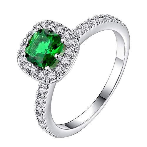 d überzogen Ring zum Damen Mädchen Quadrat Zirkonia Scheinen Design Anmutig Verlobungsring Freundin Geschenk Grün 49 (15.6) ()
