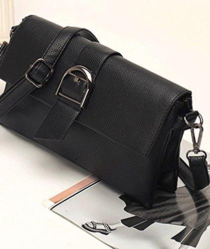 Heheja Donna Regolabile Borsa a Tracolla Design Semplice Messenger Bag Nero