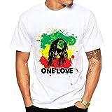WEY T-Shirt, T-Shirt a Maniche Corte con Stampa Bob Marley, T-Shirt Casual per Uomo e Donna,A4,M