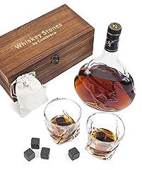 Idea Regalo - Cumbreca Set da Regalo con Bicchieri da Whisky, Whisky Stones 8 Pietre Rinfrescanti in Granite Lucida, 2 Bicchieri da Whiskey in Cristallo, Borsetta in Velluto e Astuccio in Legno