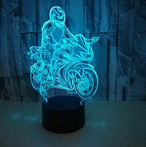 ZJFHL Kreative Fahrt Motorrad Modell Illusion 3d Lampe LED 7 farbwechsel Touch Sensor Schreibtisch Tischlampe Nachtlicht