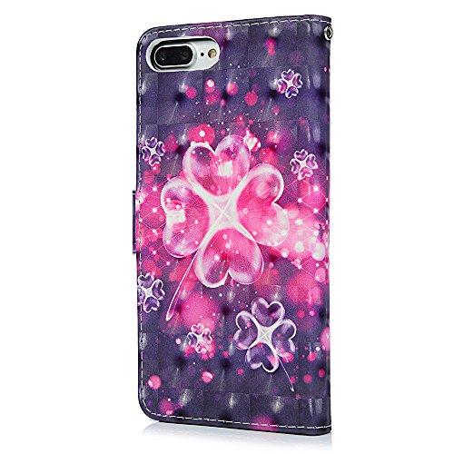 Badalink Hülle für iPhone 7 Plus / iPhone 8 Plus Liebesblumen Handyhülle Leder PU Case 3D Cover Magnet Flip Case Schutzhülle Kartensteckplätzen und Ständer Handytasche mit Eingabestifte und Staubschut Liebesblumen