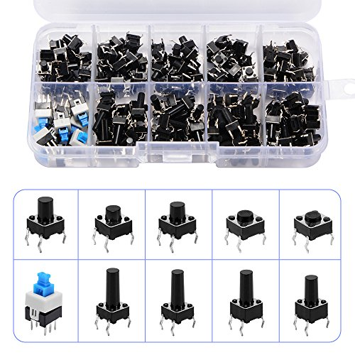180pcs 10 Types Tactile Push Button Switch Micro Momentary Tact Assortment High Precision Kit 6x6x5mm-6x6x14mm Momentary Push Button Switch