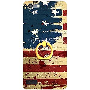 Casotec USA Flag Design 3D Printed Hard Back Case Cover with Metal Ring Kickstand for Oppo Neo 7