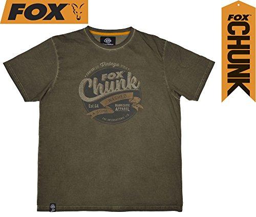 Fox Chunk Stonewash T-Shirt Khaki, Angelshirt, Tshirt zum Angeln, Anglershirt, Angelbekleidung, Größe:XXL