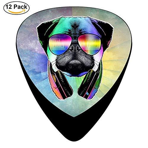 DJ Pug Dog With Headphones Sunglasses Celluloid Electric Guitar Picks 12-pack