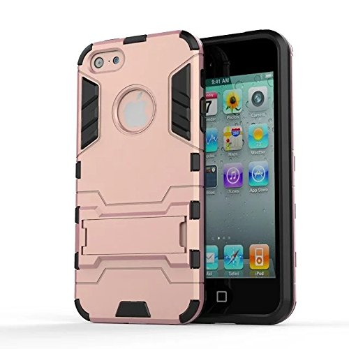 iPhone Case Cover IPhone 5S SE Cover, 2 en 1 Nouvelle Armure Tough Style hybride double couche Defender PC Hard Back Cover avec support cas anti-chocs pour IPhone 5S SE ( Color : Red , Size : IPhone 5 Rose Gold