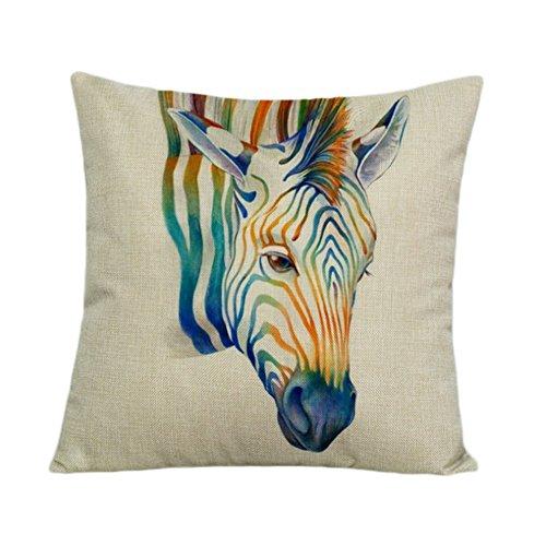 Ruikey bemalt Tier Baumwolle/Leinen Home Decor Sofa Taille Überwurf Kissen quadratisch Kissen Dekoration 45× 45cm, Baumwoll-Leinen, Zebra, 45 * 45cm