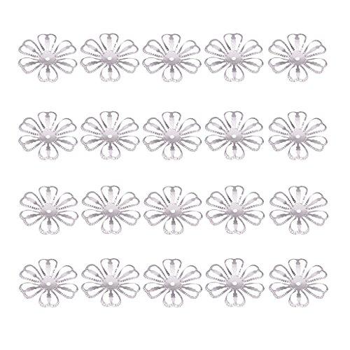 MagiDeal 100er Set Filigrane Blumen Krone Zwischenring Zwischenperlen für DIY Schmuck Handwerk Deko - Silber