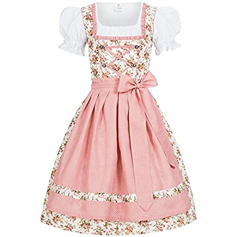 3 piece traditional Momo in flower print Dots pink dirndl set: dress, blouse and apron for Oktoberfest, carnivals or theme parties Size