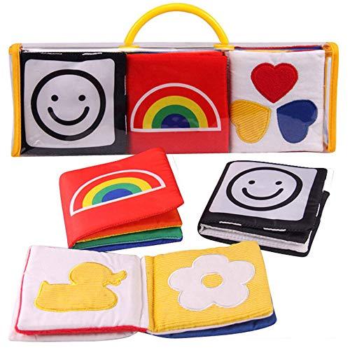 Kobeauty 3 Stücke Soft Bilderbuch 24 Seiten Lernspielzeug Baby Buch aus Stoff - Jeweils 8 Seiten mit Quietsche, Raschelpapier für Babys und Kleinkinder ab 0+ Monaten(3pcs/Set) (Schwarze Und Weiße-krippe-set)