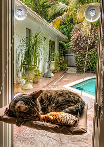Highdas Ventana del gato montado cama admiten camas de la hamaca de la cubierta lavable Medidas 21