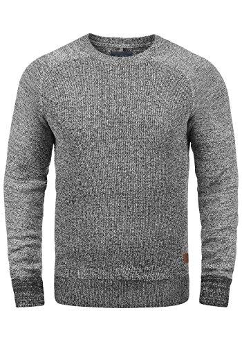 BLEND Gandolf Herren Strickpullover Feinstrick Pullover Mit Rundhals Und Melierung Aus 100% Baumwolle, Größe:XXL, Farbe:Black (70155) -