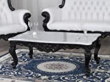 Simone Guarracino Wohnzimmertisch Regina Barock Dark Stil Couchtisch schwarz lackiert Marmor Carrara weiß