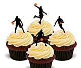 basket-ball silhouettes – comestible pour cupcakes – montant comestible gâteau Décorations, Pack of 24