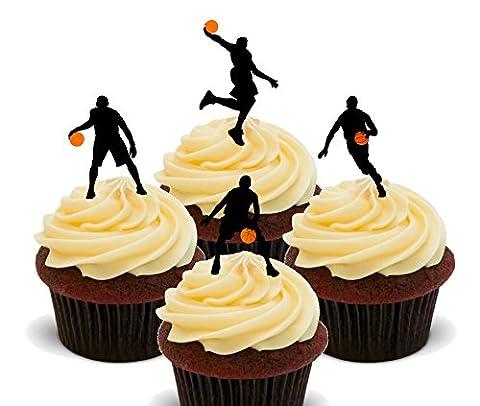 Sport Thèmes Costume Idées - Basket-ball Silhouettes–Décorations à gâteau comestibles pour cupcakes–Col