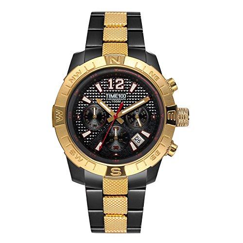 Time100 orologio per uomo in acciaio cronografo sportivo elegante#w70100g (oro)