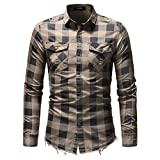Männer Shirt Langarmshirts Casual Denim Kleidung Slim Fit Plaid Mann Kleid Shirts Masculina Mi se Asian Größe M