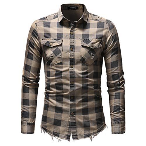 Männer Shirt Langarmshirts Casual Denim Kleidung Slim Fit Plaid Mann Kleid Shirts Masculina Mi se Asian Größe L
