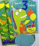Geburtstagskarte, Geschenkpapier und Geschenkanhänger  für dreijährige mit Dinosaurier-Motiv