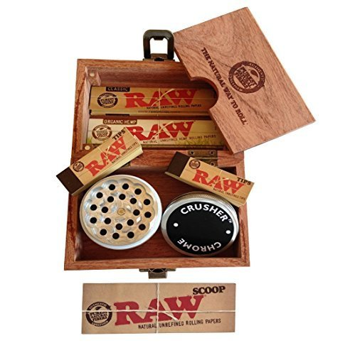 Raw ÃÂ'Ã'® Special Wood Rolling Box (10 Items Bundle) 4pc Grinder, Organic King Paper, Pre Rolled Hemp Tips... by Chrome Crusher Trademark & Raw (Rolling Raw Bundle Papers)