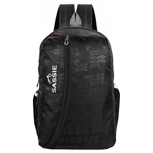 Sassie Polyester 31L Water Resistant Black & Grey School Bag (SSN-1032)