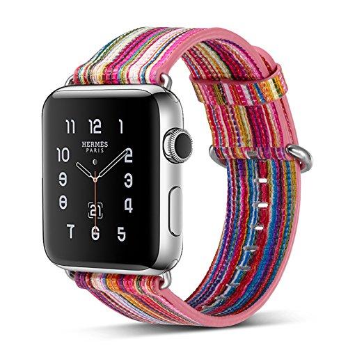 Armband für Apple Watch 42mm,PU Leder Ersatzband mit Edelstahl Gürtelschnalle Leder Uhrenarmband für Apple Watch 42mm Series 1/2/3 (A) (8)
