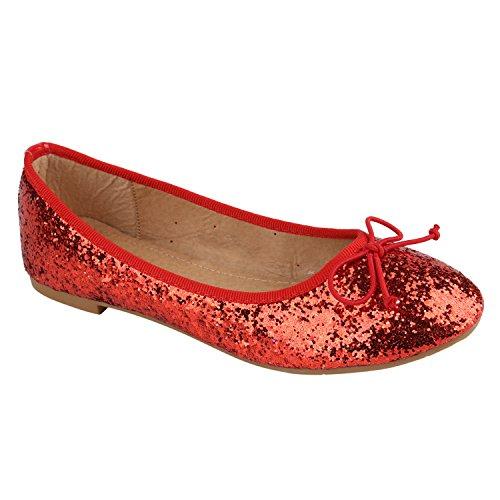 Stiefelparadies Klassische Damen Ballerinas Flats Leder-Optik Lack Glitzer Schleifen Ballerina Übergrößen Schuhe 137853 Rot Glitzer 39 Flandell (Glitzer Ballerinas Rote)