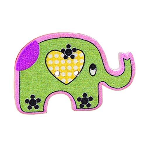 Botones - TOOGOO(R)50 piezas botones de coser de madera de dibujos animados de animales(elefante)