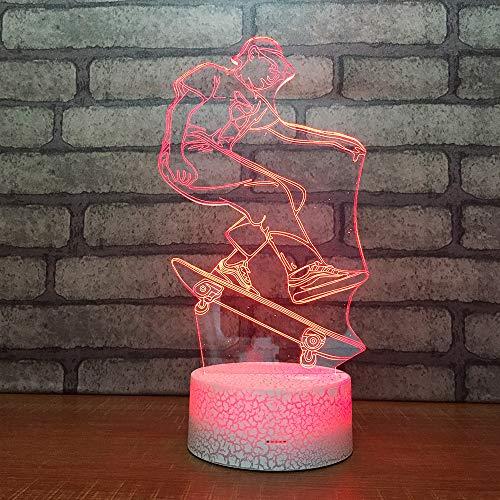 3D Optisches Nachtlicht Nachttischlampe Für Kinder LED Tischleuchte Dekoratives Licht 7 Farben Andern Touch Switch Acryl USB Batterie Crack Basis Skateboard Boy Fernbedienung