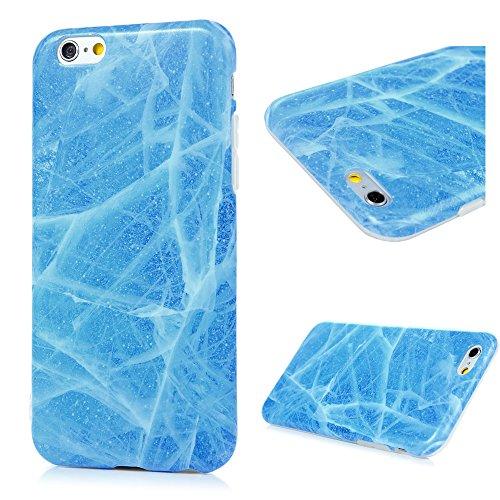 iPhone 6 Marmor Handyhülle,KASOS iPhone 6S Marble Hülle Protective Case TPU Silicone  mit IMD Technologie Design,Grau und weiß Sea Blue