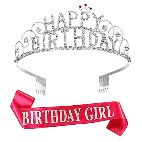 REYOK Happy Birthday Tiara Geburtstag Mädchen Glitter Krone Strass Kristall Dekor Stirnband mit Geburtstag Mädchen Schärpe