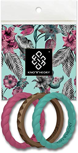 Knot Theory Stackable Silicone Wedding Ring Bands for Women - Teal Turquoise, Raspberry Wine Red, Amazonian Gold - Joy 3-Pack Size 8 - Expert Color Coordinated - Ultra Comfortable, Slim, Elegant