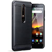 Nokia 6 2018 Case, Terrapin TPU Schutzhülle Tasche Case Cover für Nokia 6 2018 Hülle Karbonfaser & Ausgebürstet Dessin - Schwarz
