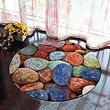 Morbuy Runder Teppich Innenbereich 3D Flur Teppich Wohnzimmer Fussabstreifer Rutschfest und Waschbar Praktische Fußabtreter (60cm, Farbige Steine)