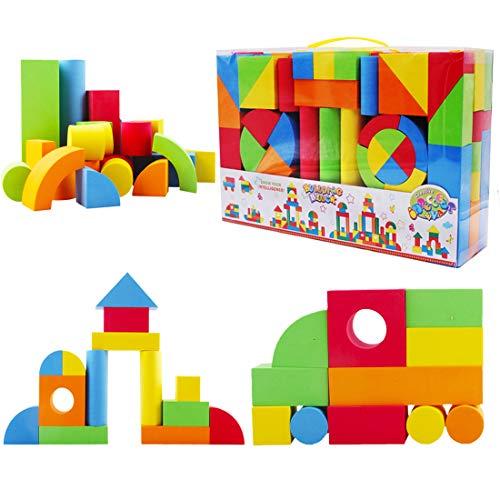 *deAO Riesige Bausteine aus Schaumstoff Spielzeug für das kreative Lernen von Kindern Set von 131 Stück*
