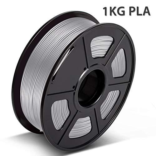3D Warhorse PLA Filament Silver, PLA Filament 1.75mm,PLA 3D Printer Filament,Dimensional Accuracy +/- 0.02 mm, 2.2 LBS(1KG),1.75mm Filament, Bonus with 5M PCL Nozzle Cleaning Filament