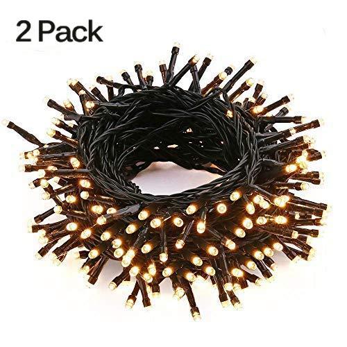 Yinuo Candle 100 LED x 2  Lichterkette Warmweiß, 10m Outdoor Lichterkette Warmweiß 8 Modi Dimmbar Wasserdichte Ip65 Für Außen/innen, 2er Pack