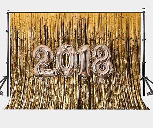 BuEnn 10X7ft Schimmer Gold 2018 Vorhang Hintergrund Metallic Lametta Gold Hintergrund für Party Foto Hintergrund LYGE512 (Metallic Dusche Vorhang)