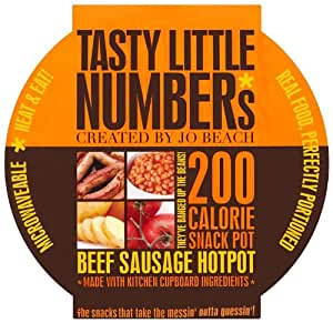 TASTY LITTLE NUMBERS 200 Calorie Sausage & Beans Snack Pot with Potatoes & Mushrooms in a Spicy Tomato Sauce 200g (Box of 6)