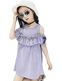 Ergou Vestido de Verano bebé Modelos Niñas Rayado Casual Falda Encaje Cinta Mangas Vestido de Fiesta Princesa…